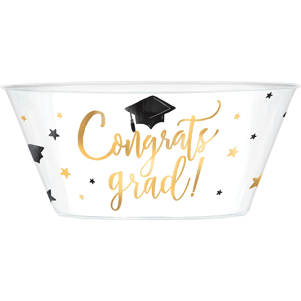 Metallic Gold Graduation Plastic Serving Bowl Image #1