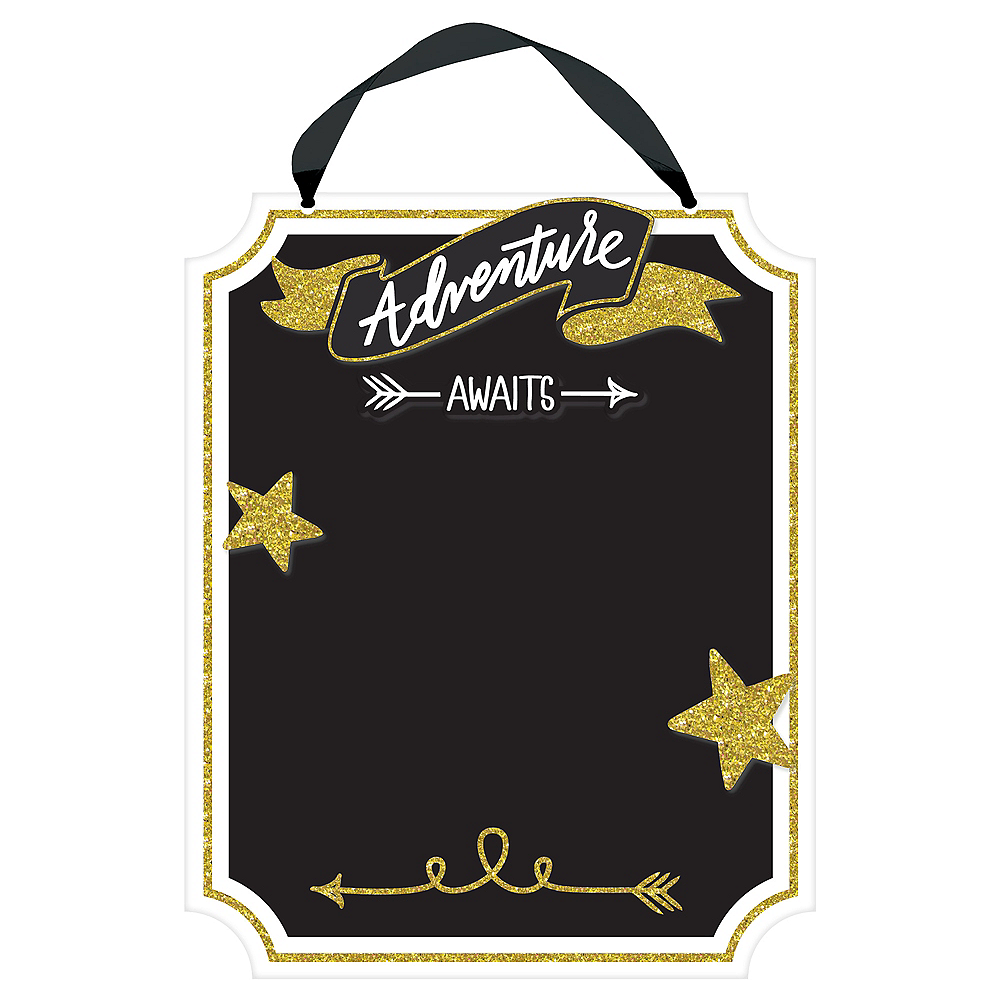 Glitter Gold Adventure Awaits Chalkboard Sign Image #1