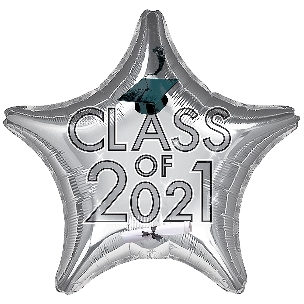 Silver Class of 2020 Graduation Star Balloon, 19in Image #1