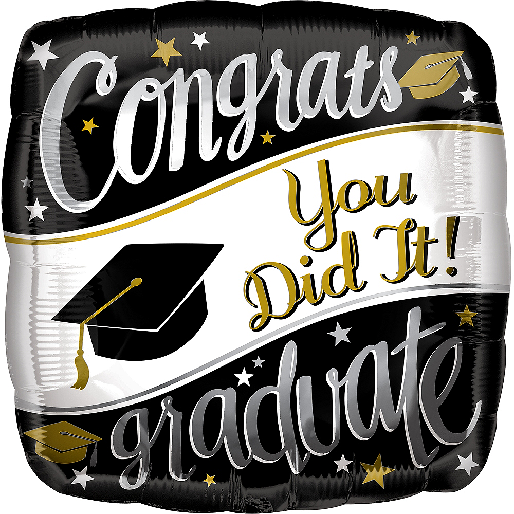 Black, White & Gold Congrats Graduate Balloon, 17in Image #1