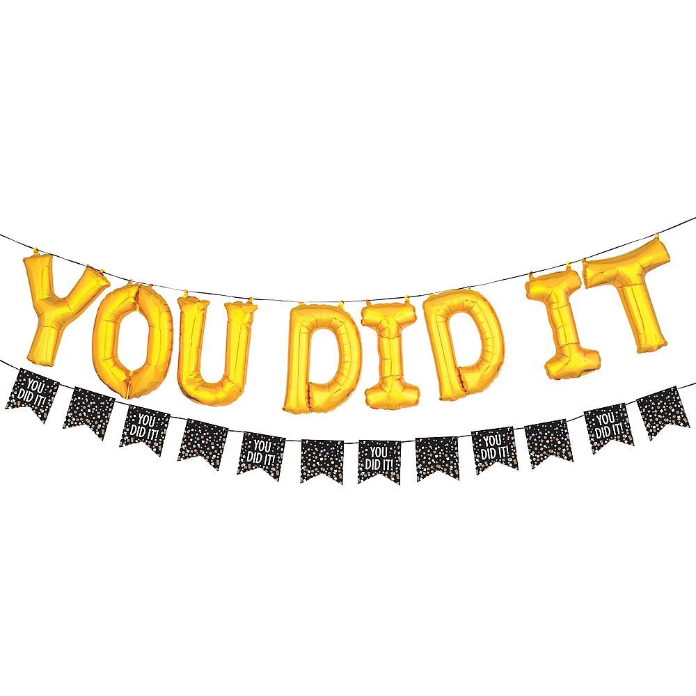 Air-Filled Gold You Did It Letter Balloons with Pennant Banner, 13in Image #1