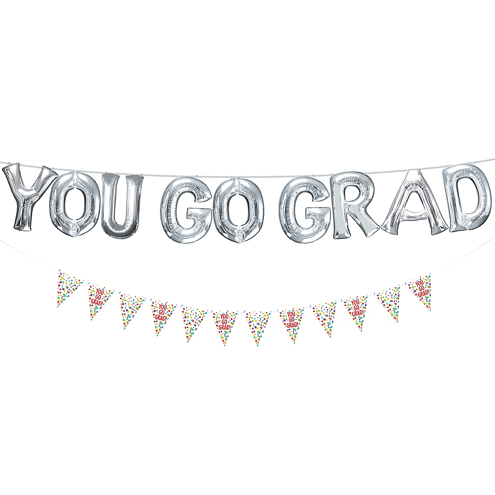 Air-Filled Silver You Go Grad Letter Balloons with Pennant Banner, 13in Image #1