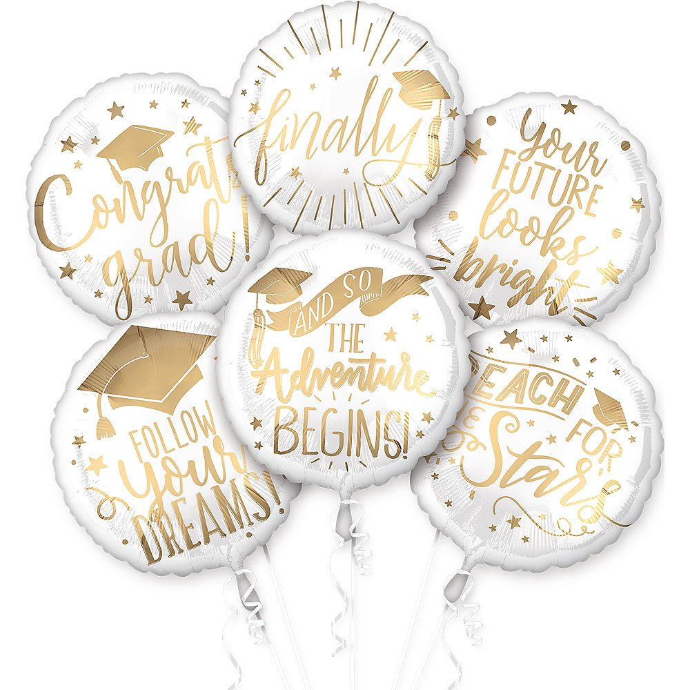 White & Gold The Adventure Begins Balloons 6ct Image #1
