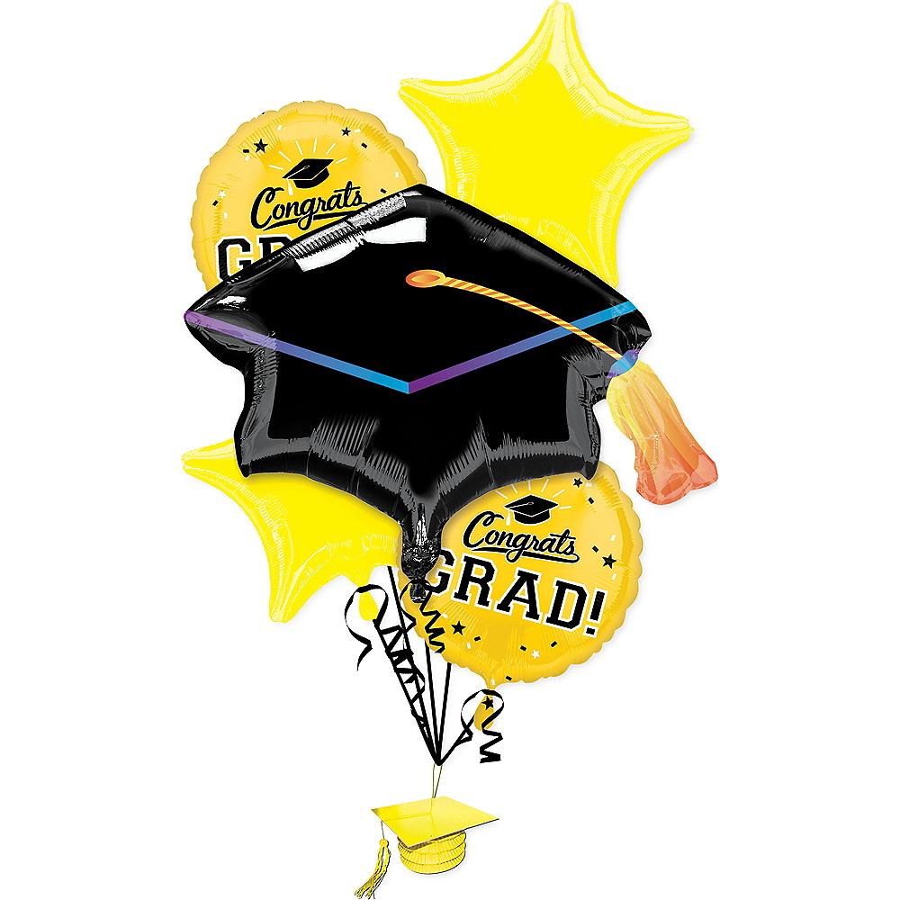 Yellow Congrats Grad Balloon Bouquet 6pc Image #1