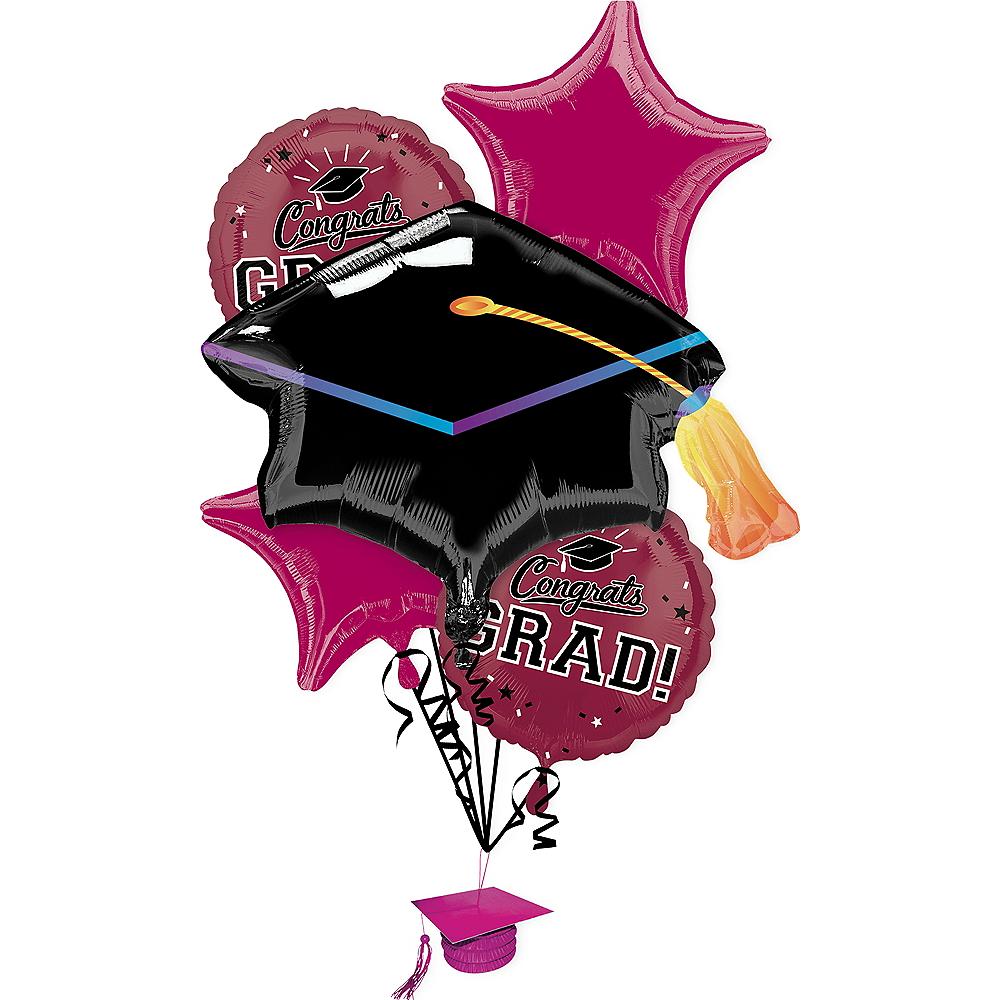 Berry Congrats Grad Balloon Bouquet 6pc Image #1