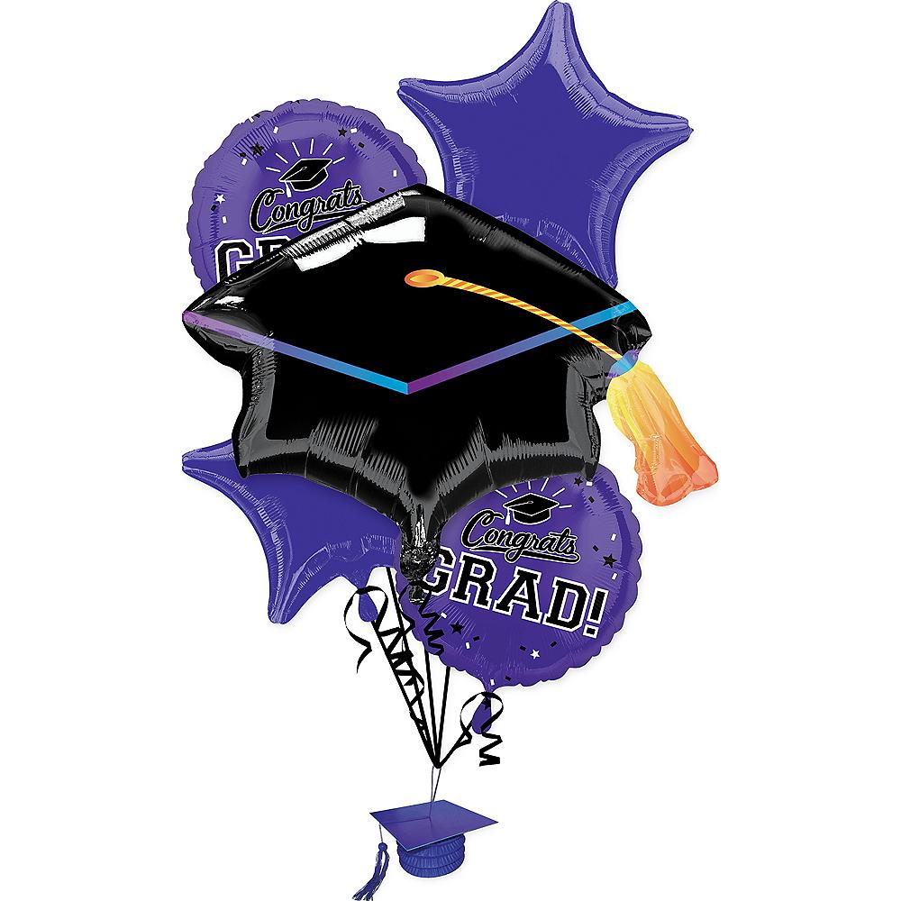 Purple Congrats Grad Balloon Bouquet 6pc Image #1