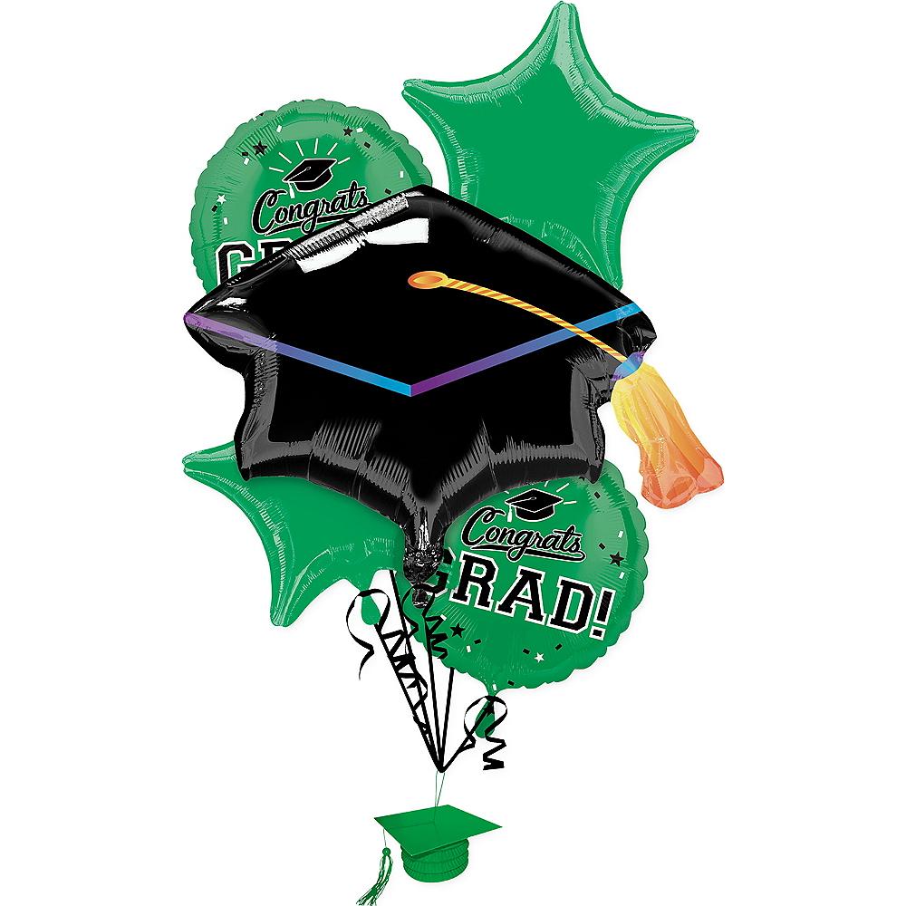 Green Congrats Grad Balloon Bouquet 6pc Image #1