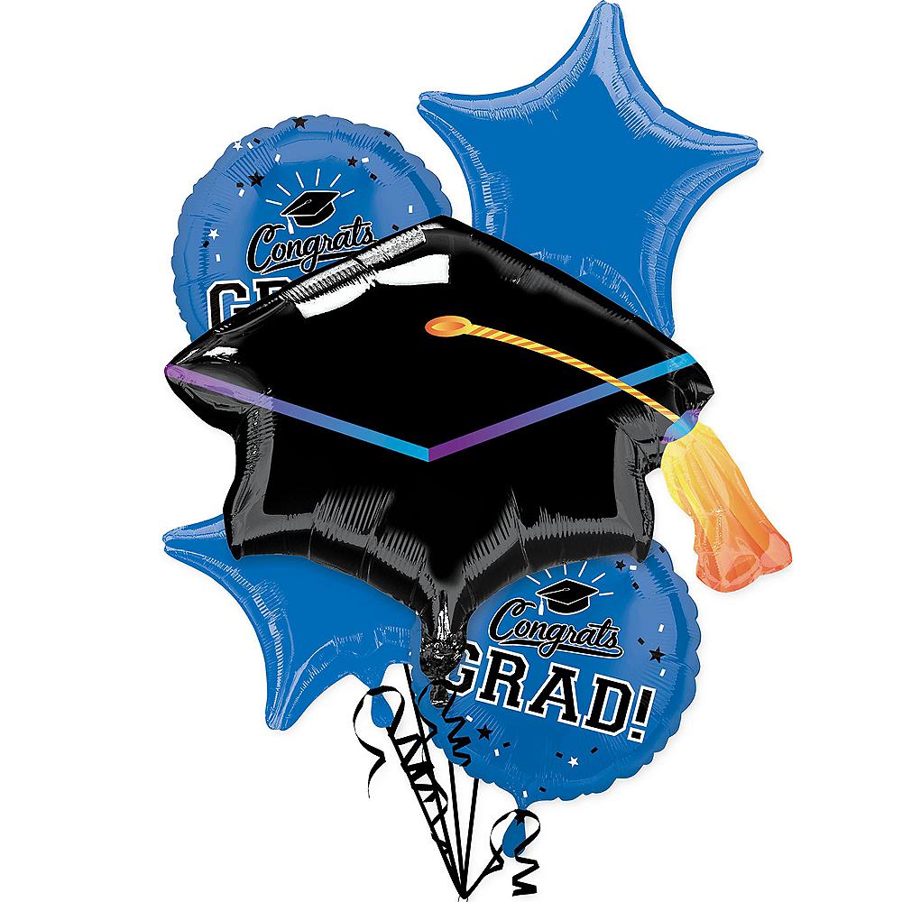 Blue Congrats Grad Balloon Bouquet 6pc Image #1
