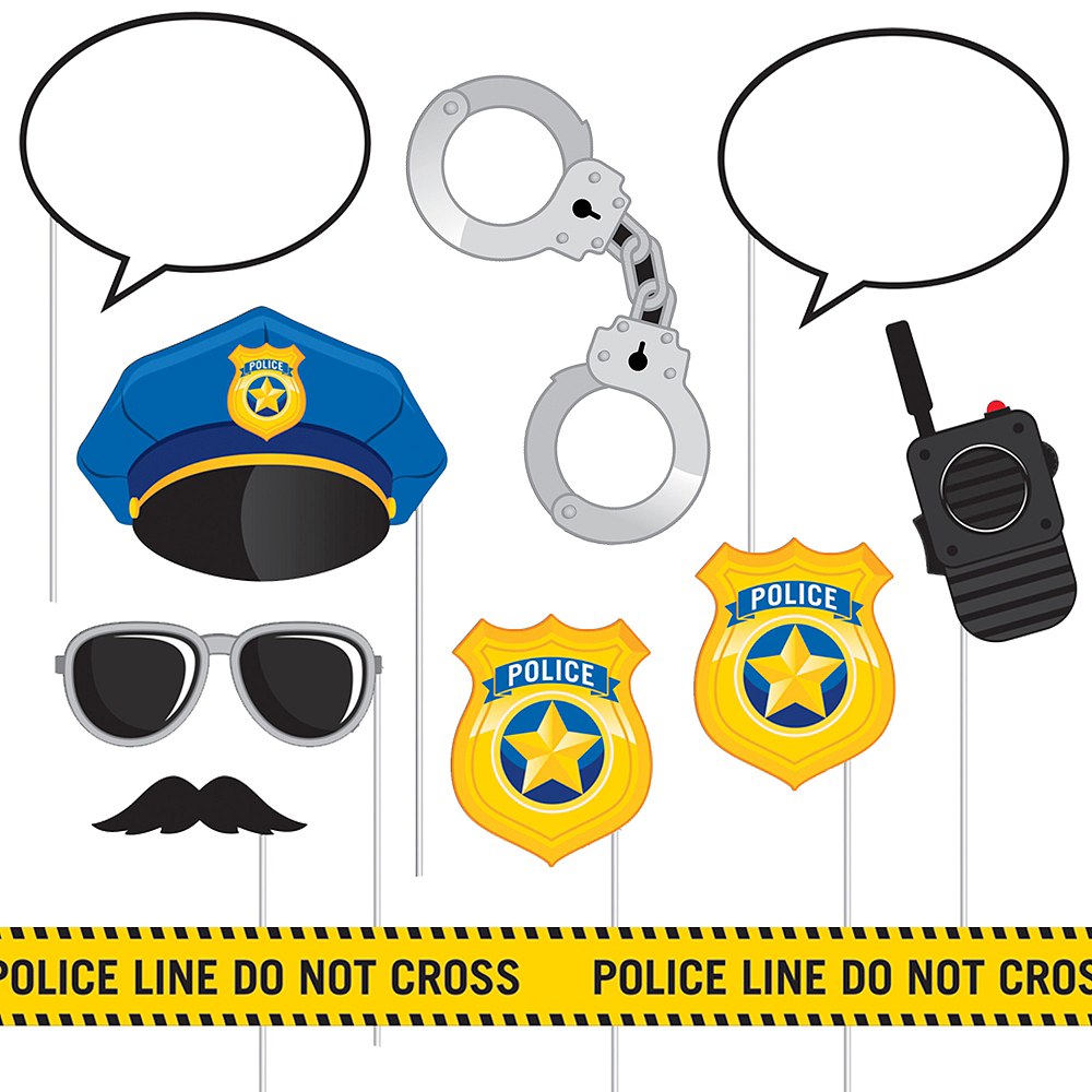 Police Photo Booth Props 10ct Image #1