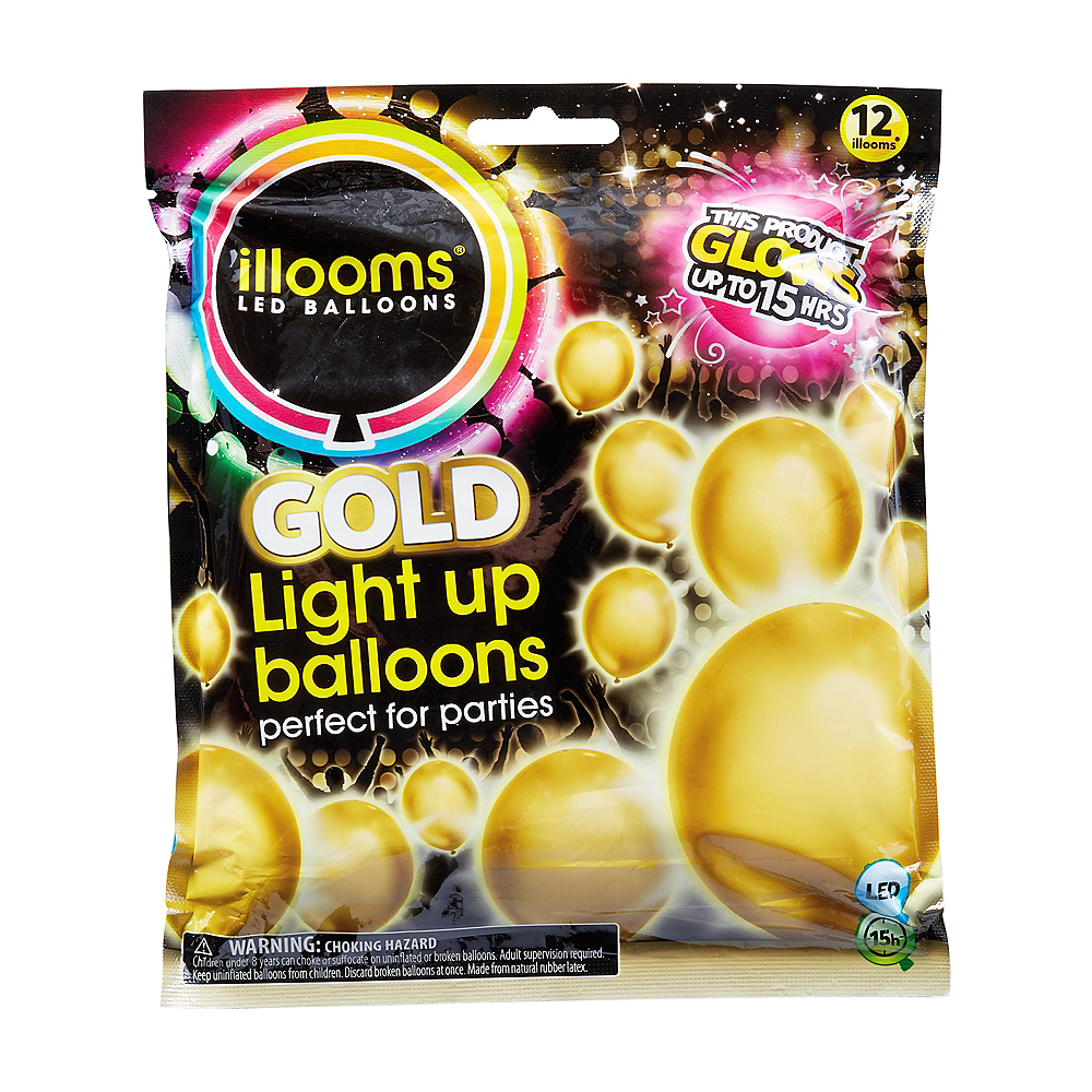 Illooms Light-Up Gold LED Balloons 12ct, 9in Image #1