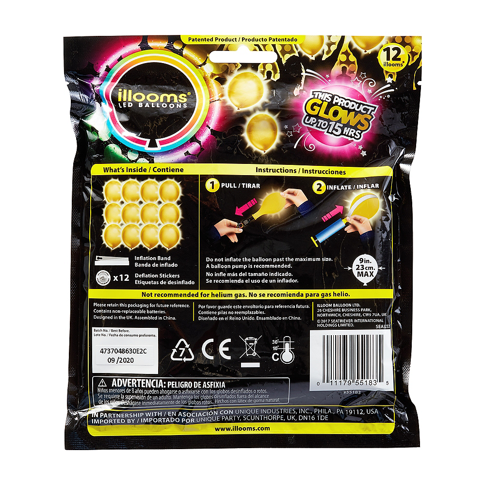 Illooms Light-Up Gold LED Balloons 12ct, 9in Image #2