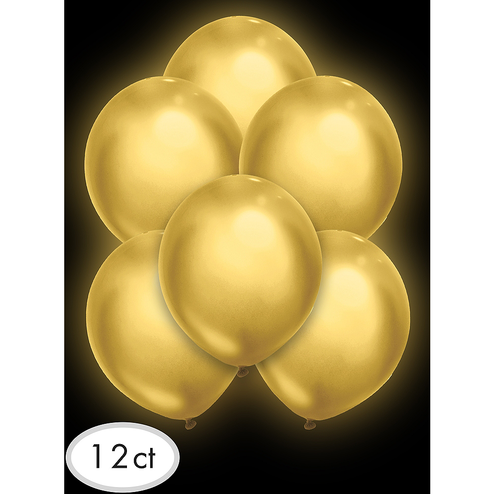 Illooms Light-Up Gold LED Balloons 12ct, 9in Image #3
