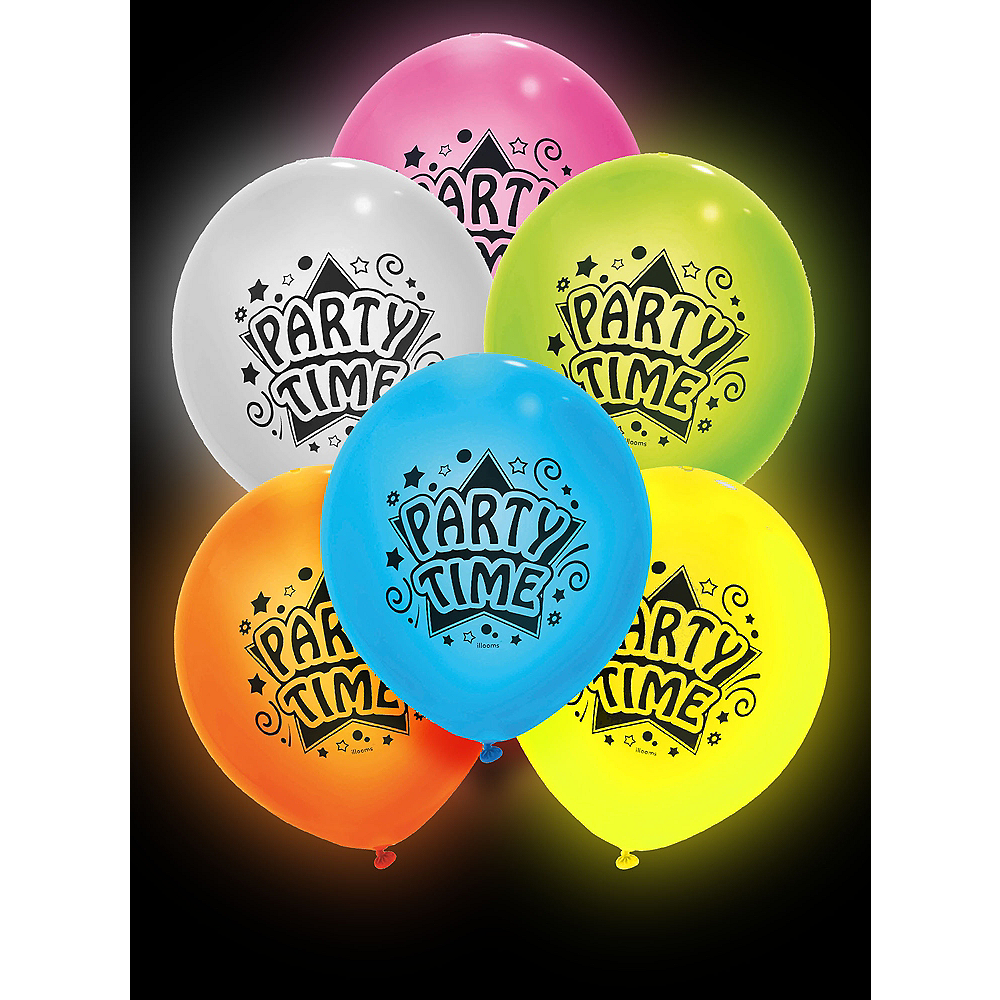 Illooms Light-Up Assorted Color Party Time LED Balloons 12ct, 9in Image #1