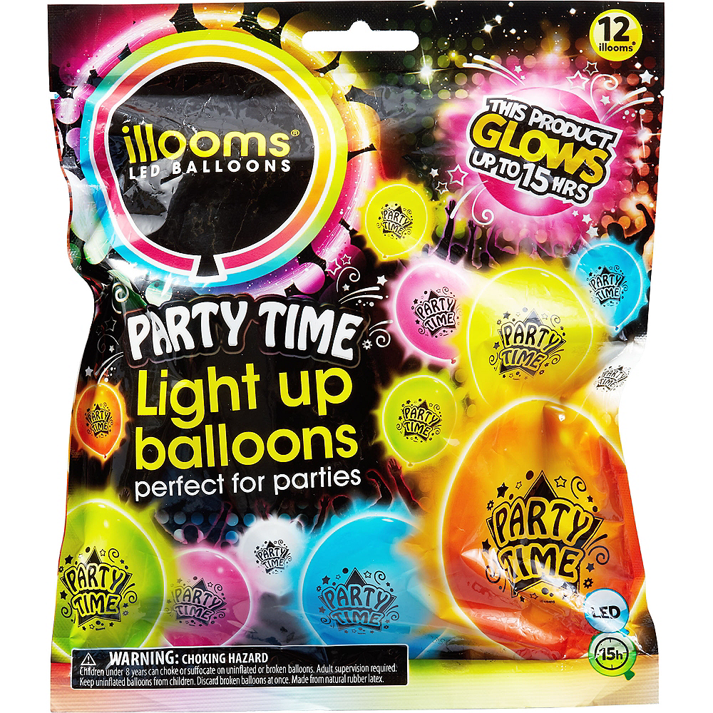 Illooms Light-Up Assorted Color Party Time LED Balloons 12ct, 9in Image #2