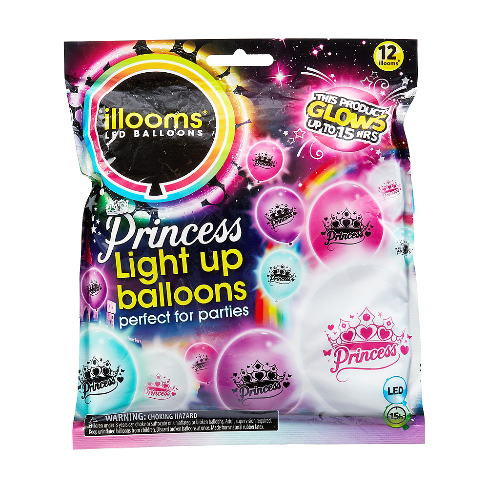 Illooms Light-Up Princess LED Balloons 12ct, 9in Image #1