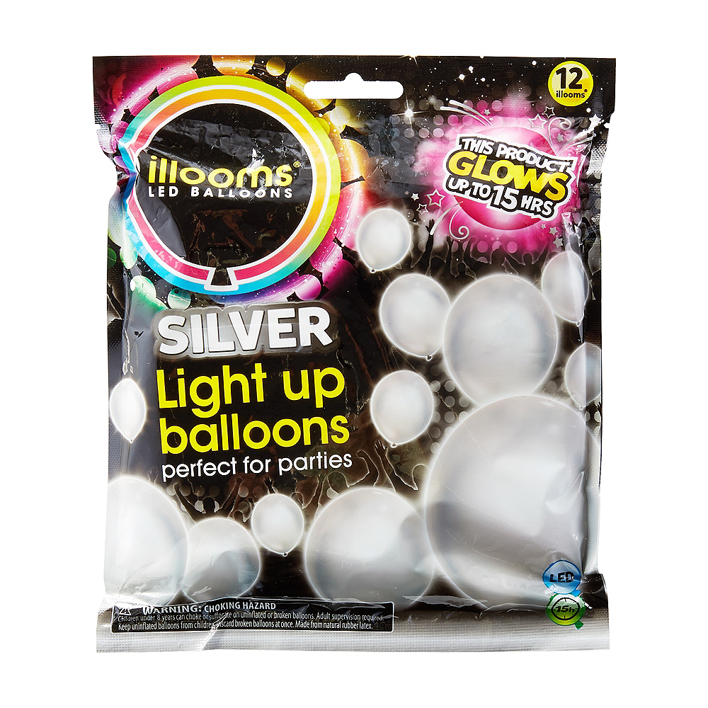 Illooms Light-Up Silver LED Balloons 12ct, 9in Image #1