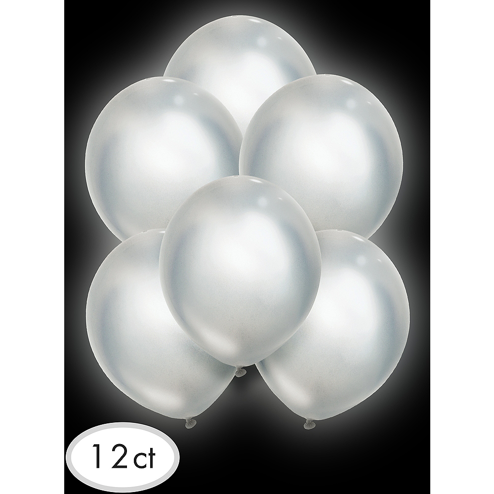 Illooms Light-Up Silver LED Balloons 12ct, 9in Image #3