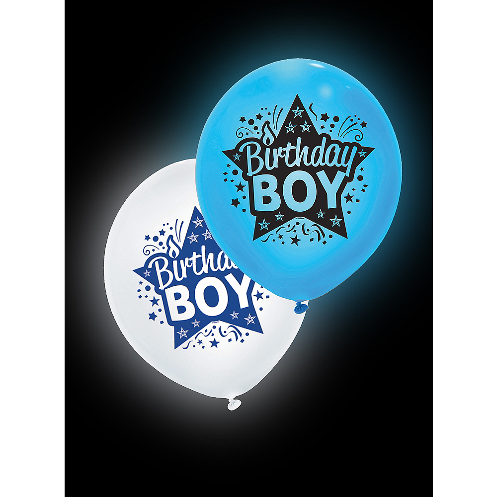 Illooms Light-Up Blue & White Birthday Boy LED Balloons 2ct, 24in Image #3