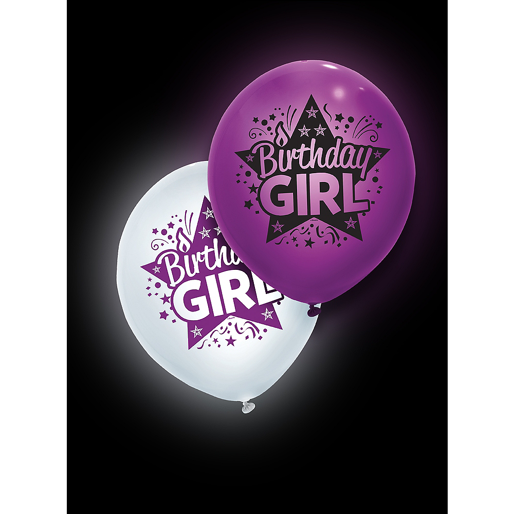 Illooms Light-Up Purple & White Birthday Girl LED Balloons 2ct Image #3