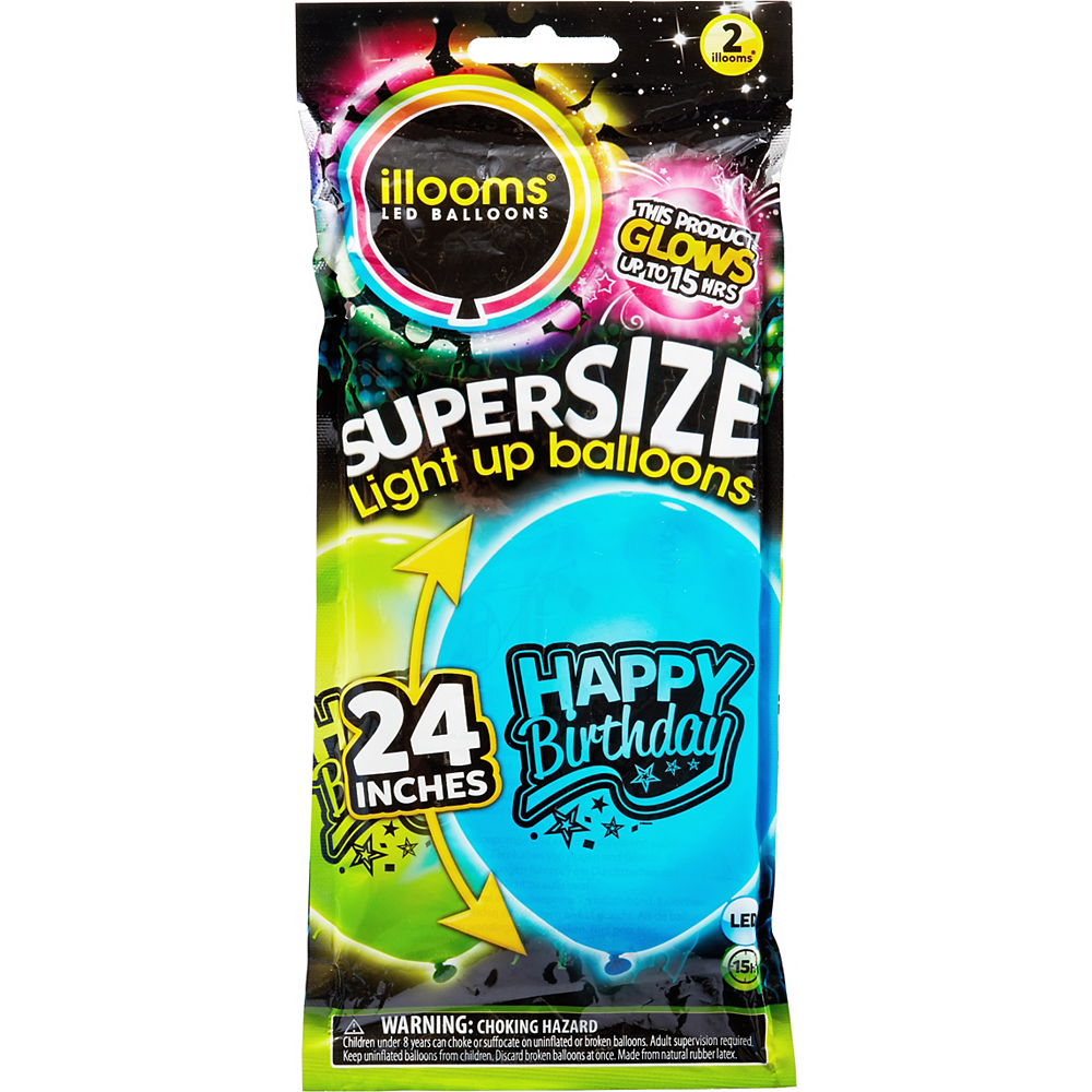 Illooms Light-Up Blue & Green Happy Birthday LED Balloons 2ct, 24in Image #1