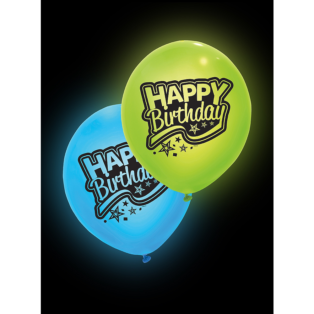 Illooms Light-Up Blue & Green Happy Birthday LED Balloons 2ct, 24in Image #3