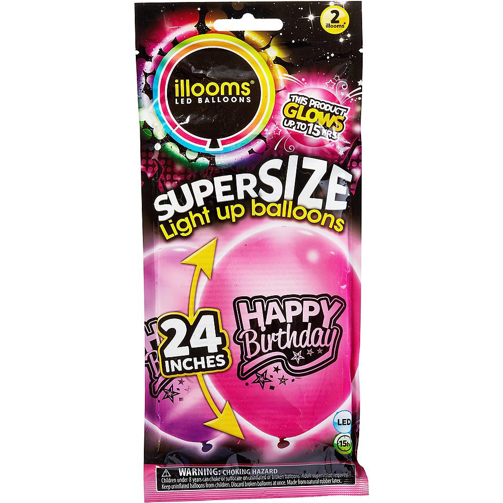 Nav Item For Illooms Light Up Pink Purple Happy Birthday LED Balloons 2ct Image