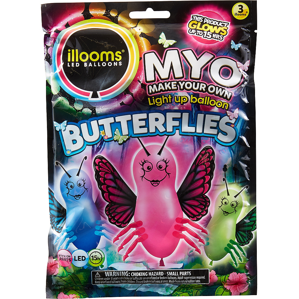 Illooms Light-Up Butterfly LED Balloons 3ct, 9in Image #1