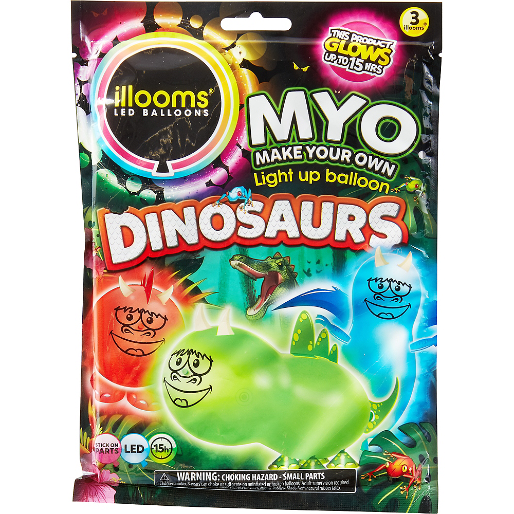 Illooms Light-Up Dinosaur LED Balloons 3ct, 9in Image #1