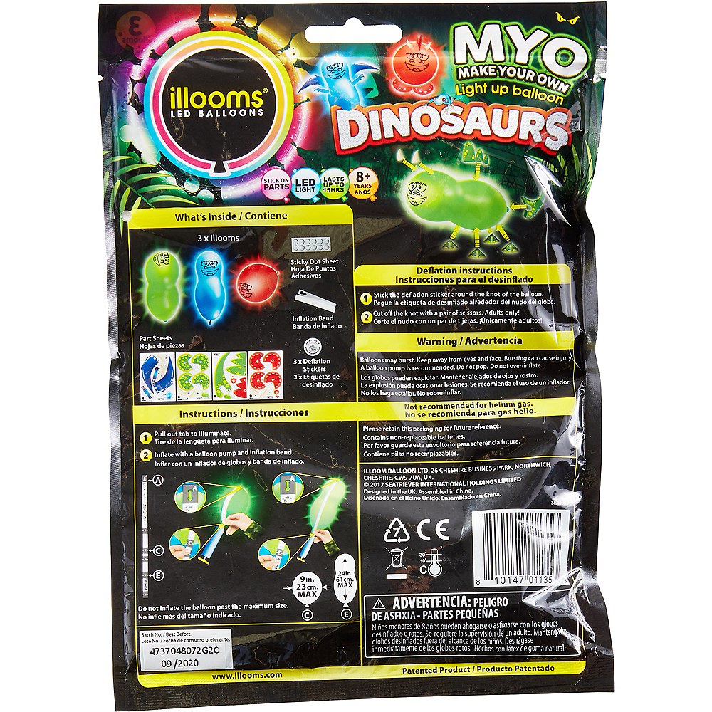 Illooms Light-Up Dinosaur LED Balloons 3ct, 9in Image #2