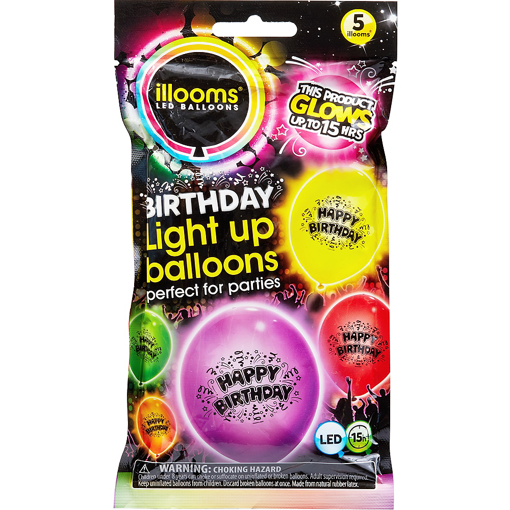 Illooms Light-Up Assorted Color Happy Birthday LED Balloons 5ct, 9in Image #1