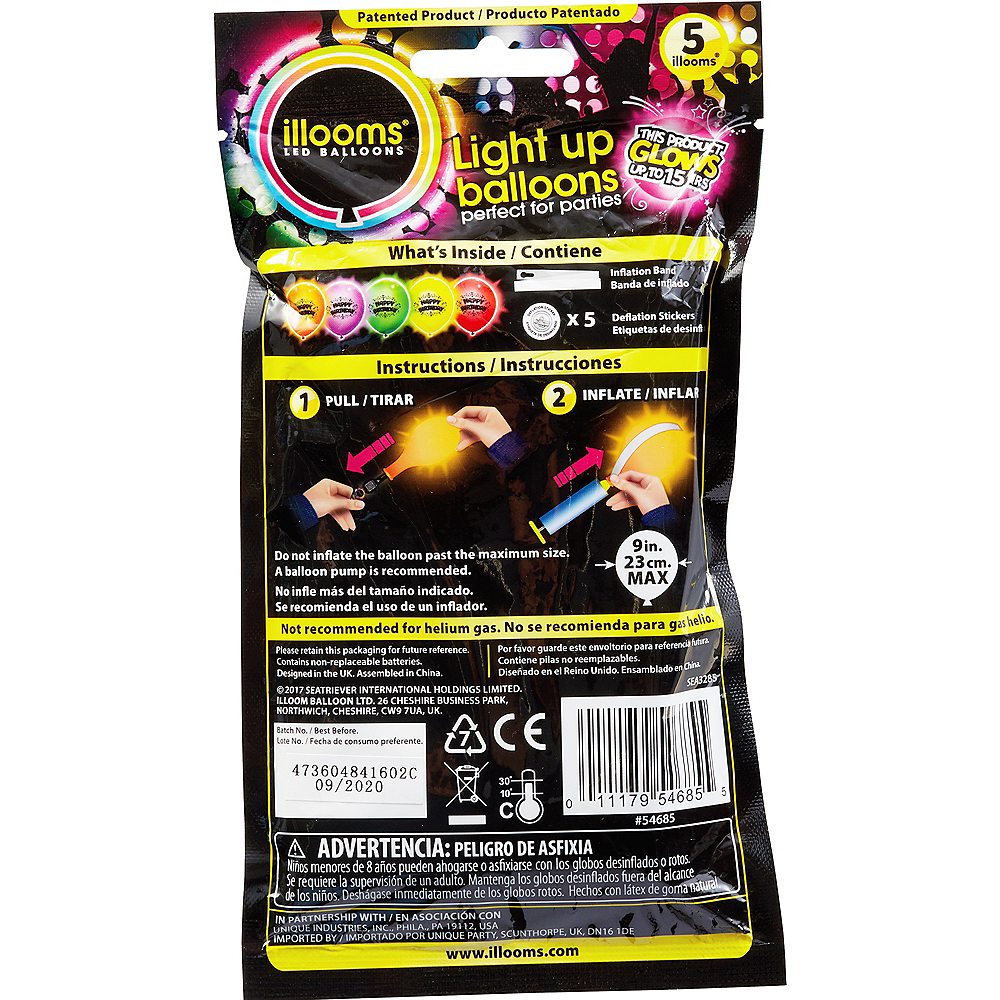 Illooms Light-Up Assorted Color Happy Birthday LED Balloons 5ct, 9in Image #2