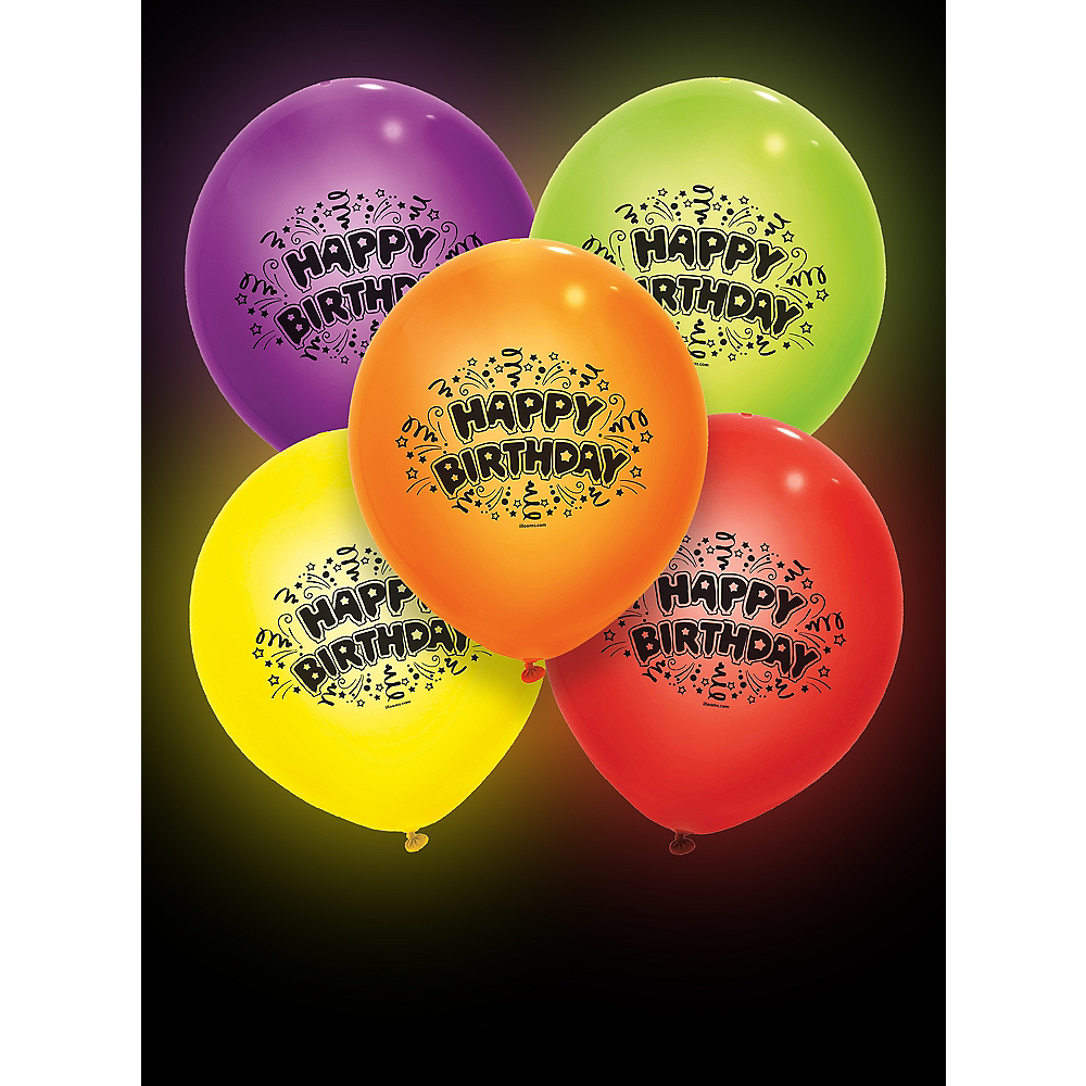 Illooms Light-Up Assorted Color Happy Birthday LED Balloons 5ct, 9in Image #3