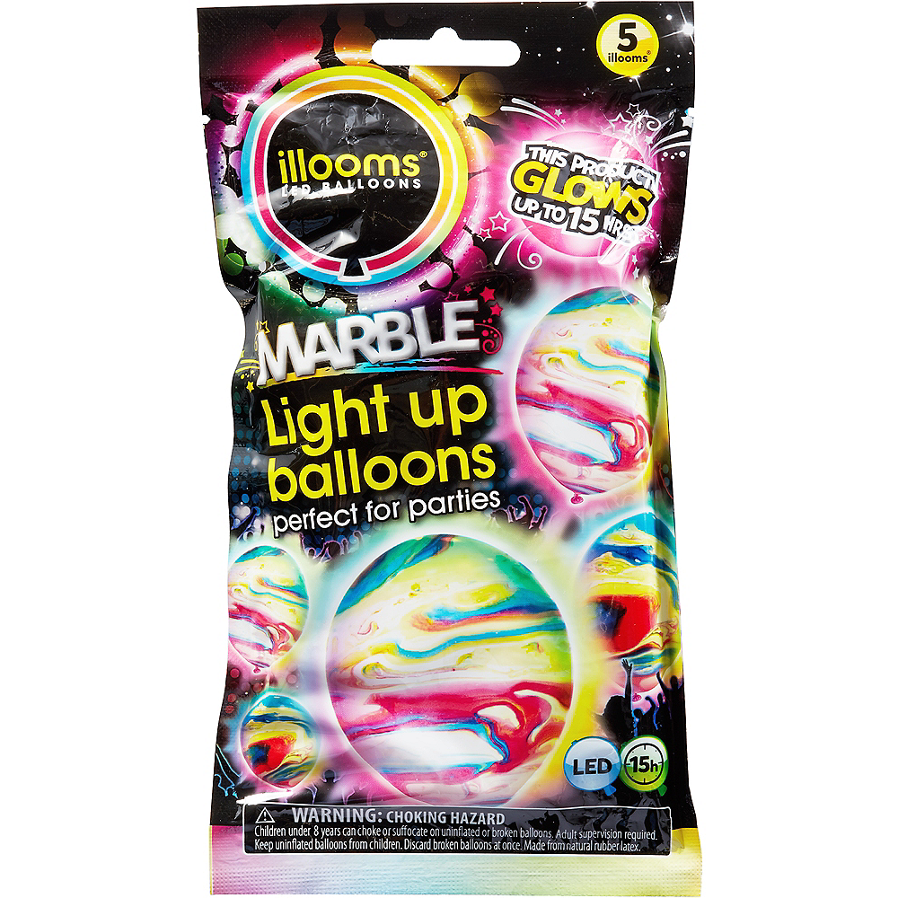 Illooms Light-Up Marble LED Balloons 5ct, 9in Image #1