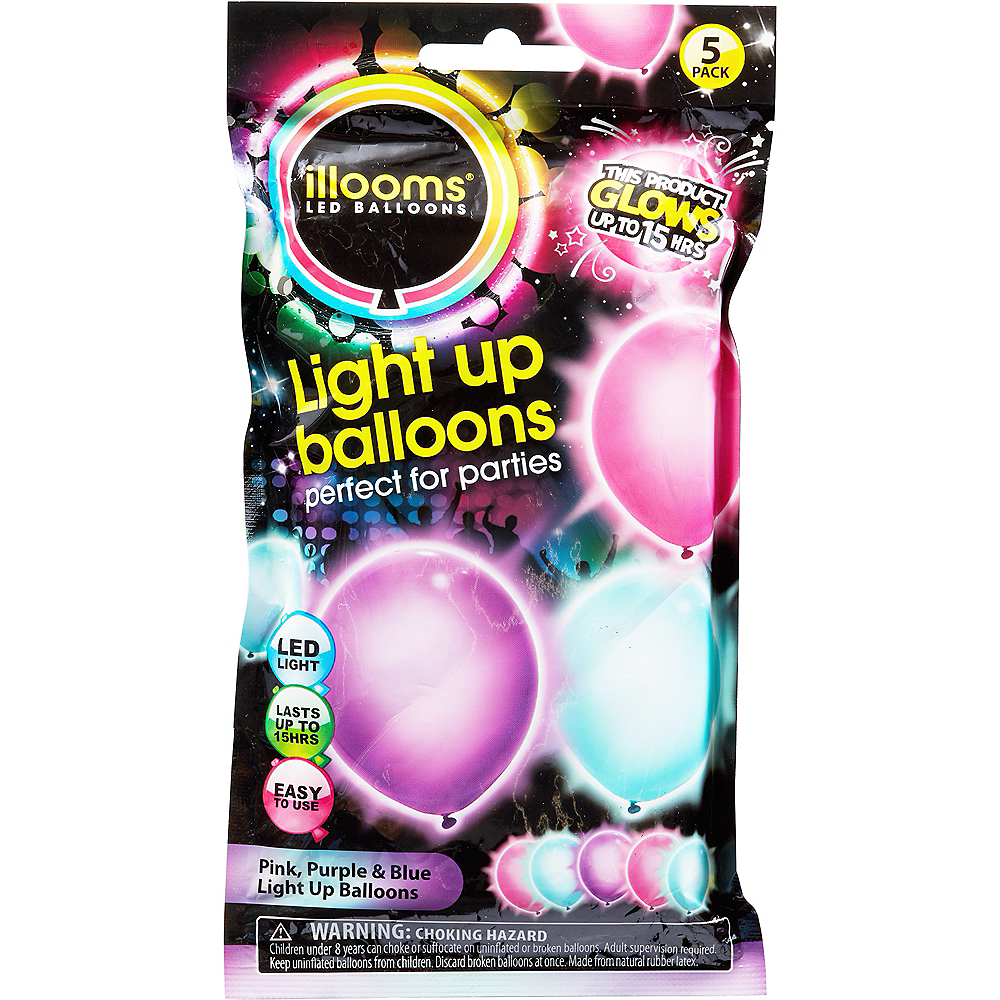 Illooms Light-Up Blue, Pink & Purple LED Balloons 5ct, 9in Image #1