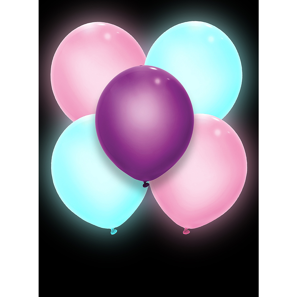 Illooms Light-Up Blue, Pink & Purple LED Balloons 5ct, 9in Image #3