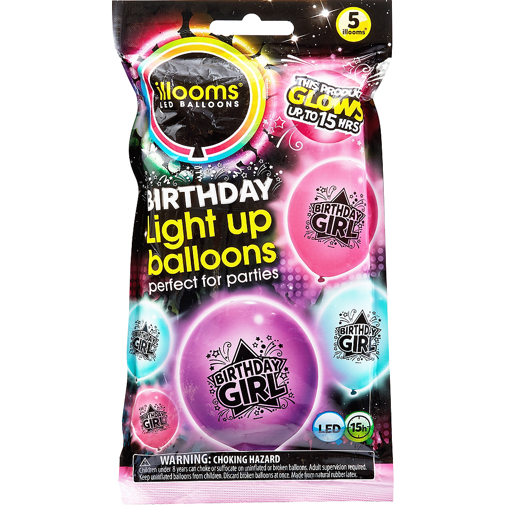 Illooms Light-Up Birthday Girl LED Balloons 5ct, 9in Image #1