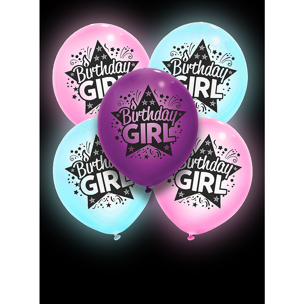 Illooms Light-Up Birthday Girl LED Balloons 5ct, 9in Image #3