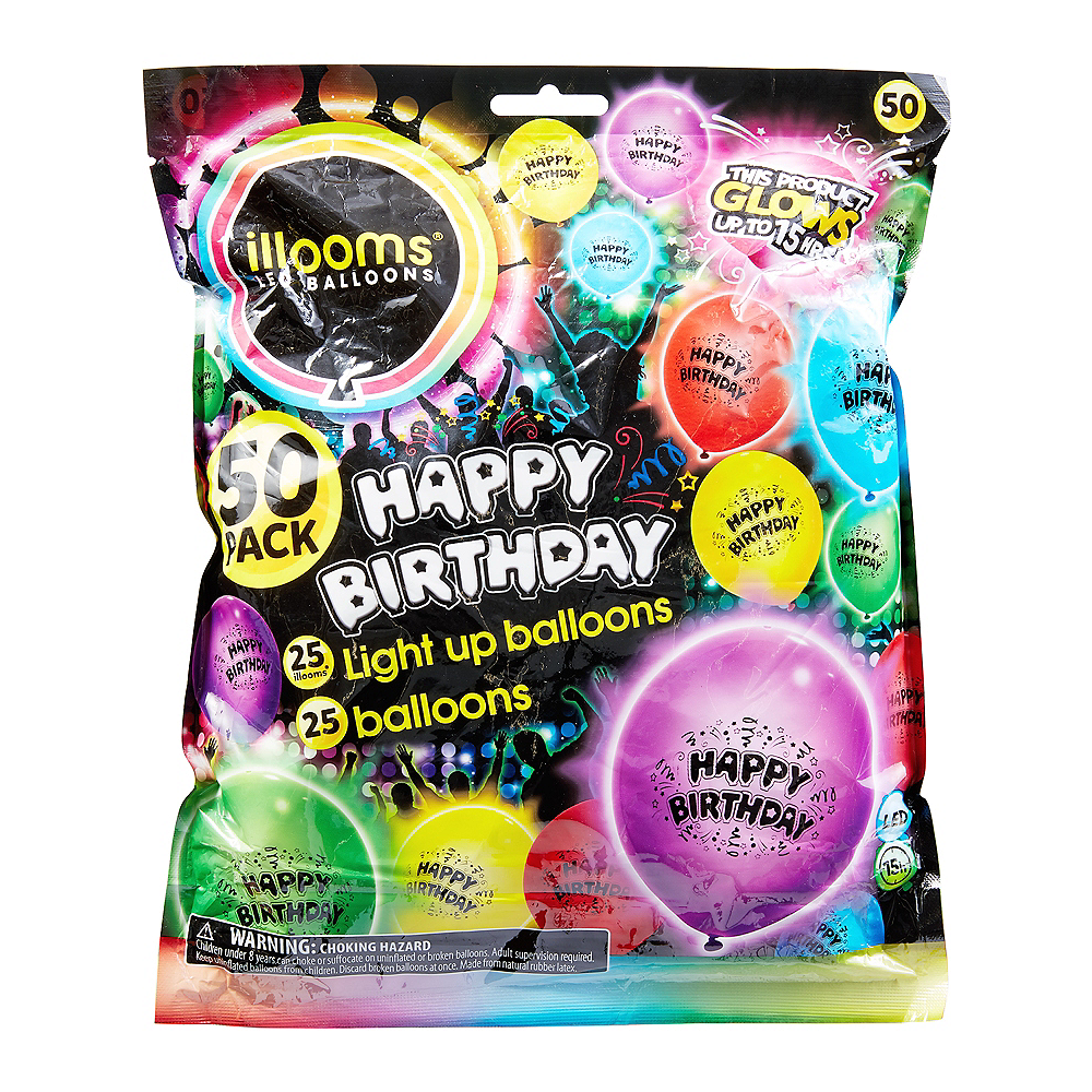 Illooms Light-Up Assorted Color Happy Birthday LED Balloons 50ct, 9in Image #1