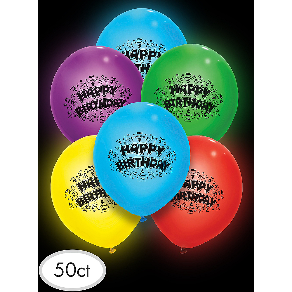 Illooms Light-Up Assorted Color Happy Birthday LED Balloons 50ct, 9in Image #3