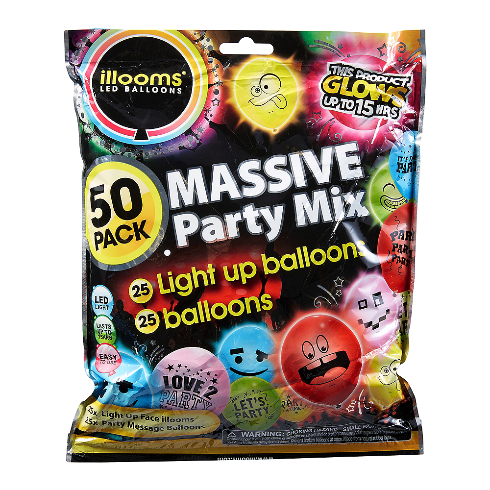 Illooms Massive Mix Assorted Color LED Balloons & Latex Balloons 50ct, 9in Image #1