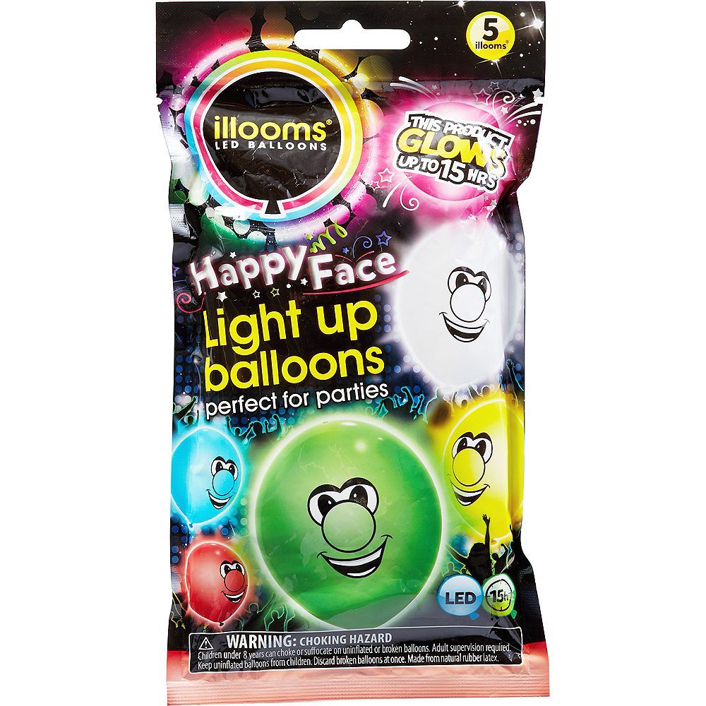 Illooms Light-Up Silly Faces LED Balloons 12ct, 9in Image #1