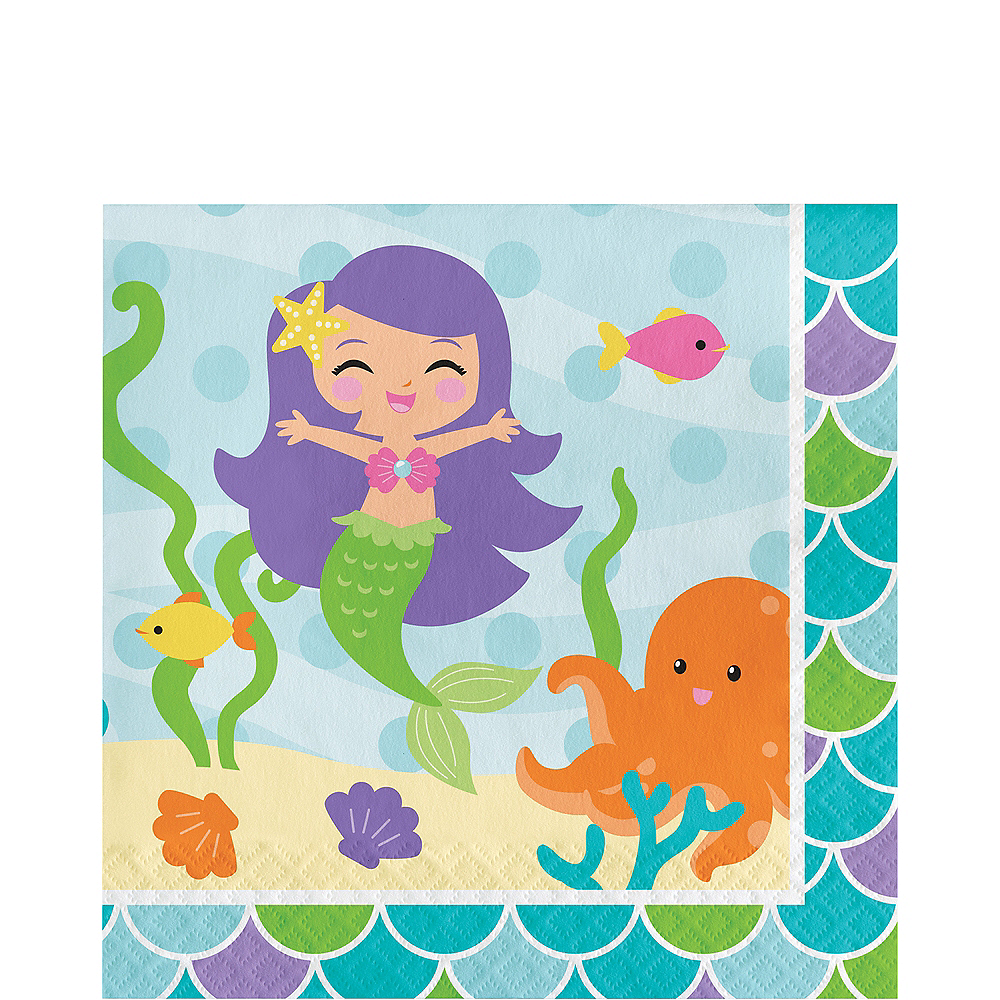 Friendly Mermaid Lunch Napkins 16ct Image #1