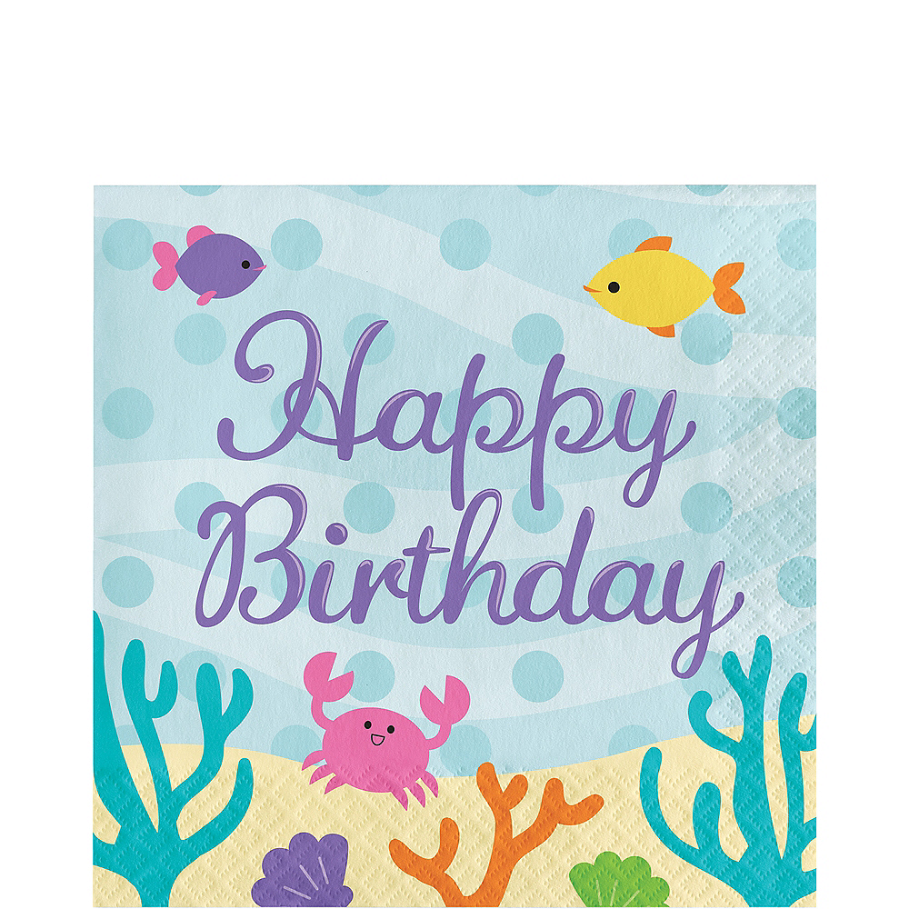 Friendly Mermaid Happy Birthday Lunch Napkins 16ct Image #1