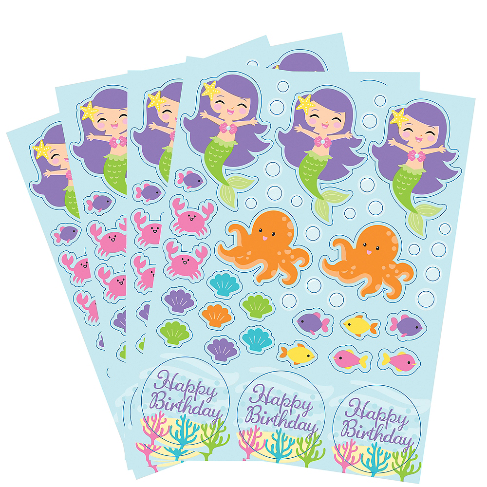 Friendly Mermaid Stickers 4 Sheets Image #1