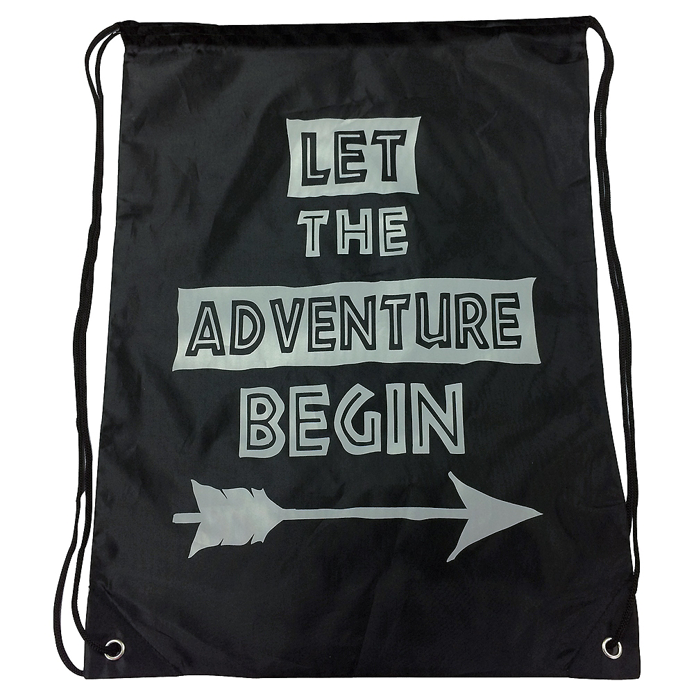 ab03f5db91ce6 Let The Adventure Begin Drawstring Backpack 14in x 19in