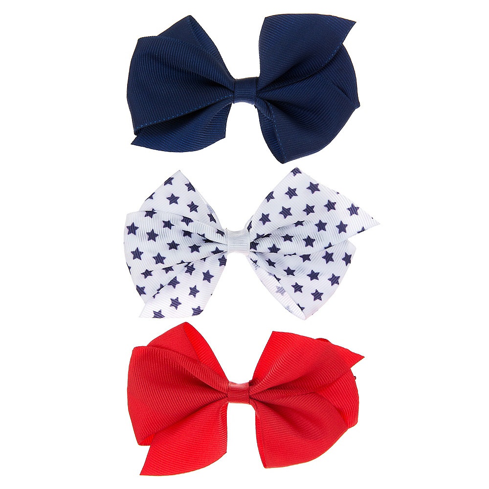 Patriotic Red, White & Blue Bow Hair Clips 3ct Image #1