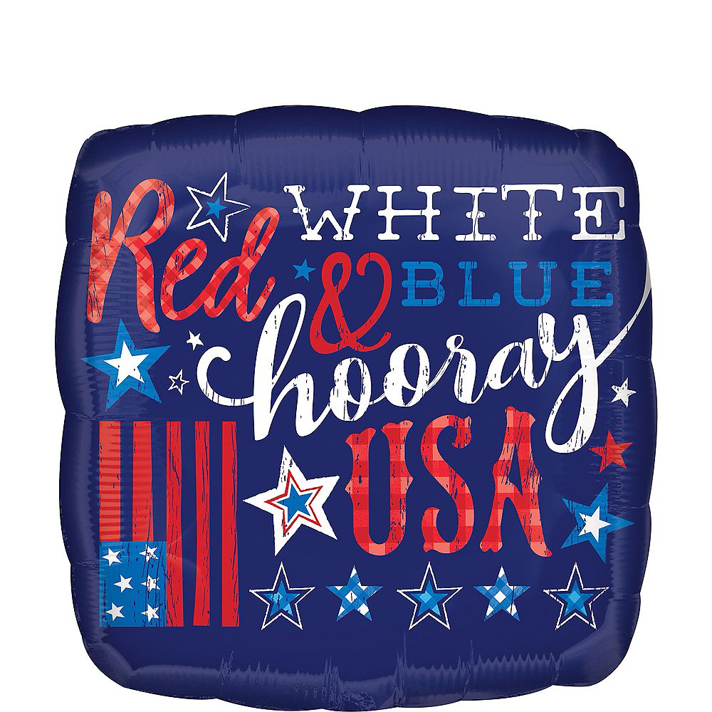 Patriotic Hooray USA Balloon, 17in Image #1