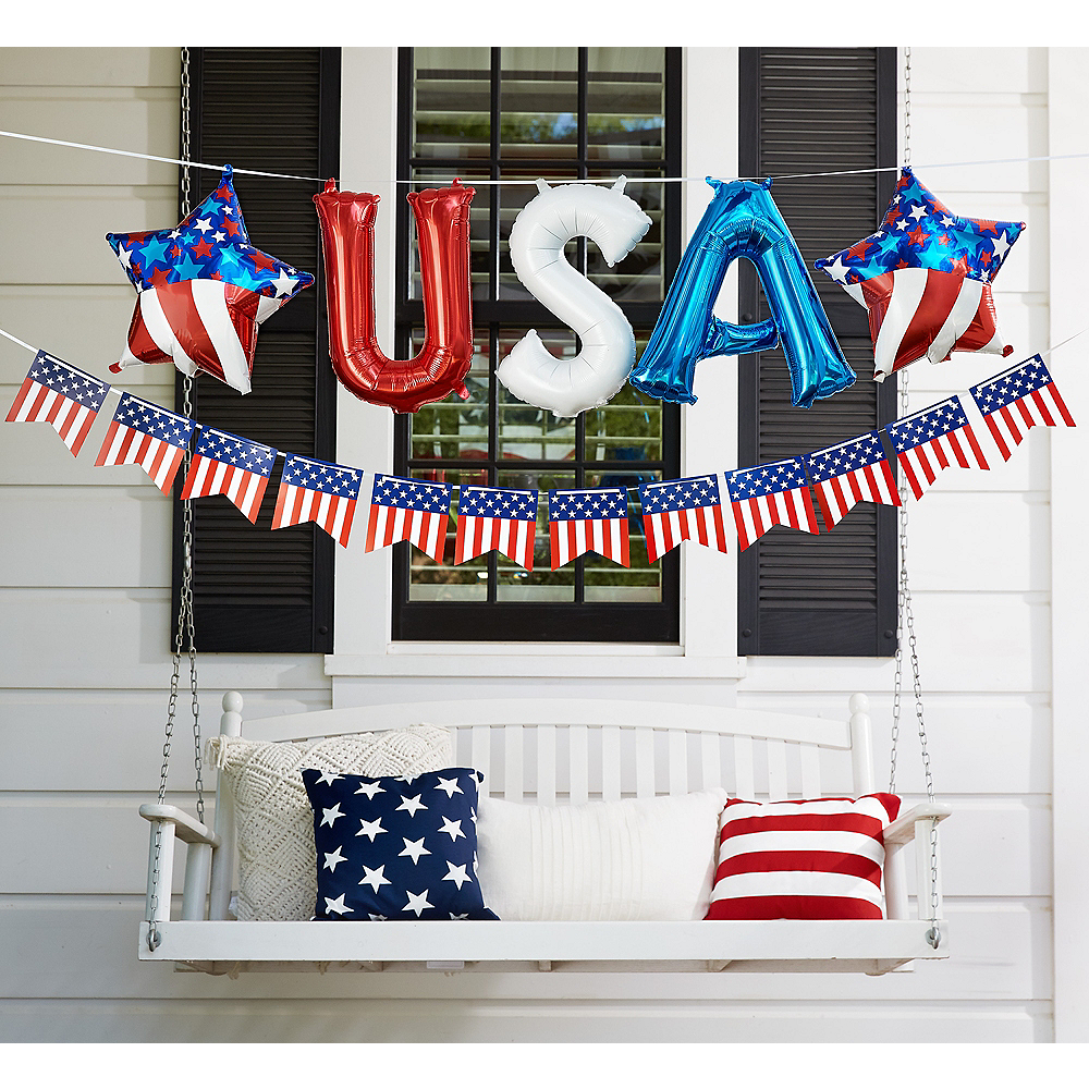 Air-Filled Red, White & Blue USA Letter Balloons with Pennant Banner, 13in Image #2