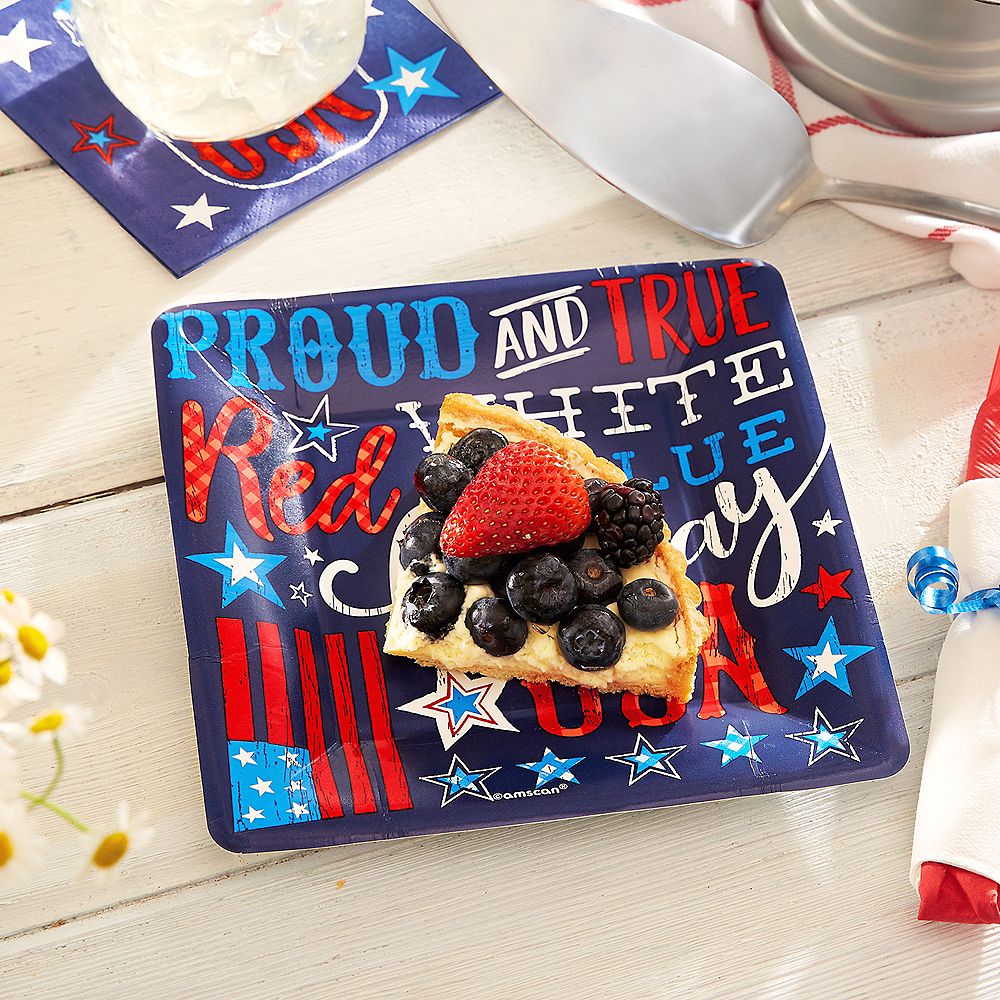 Patriotic Proud & True Dessert Plates 18ct Image #2