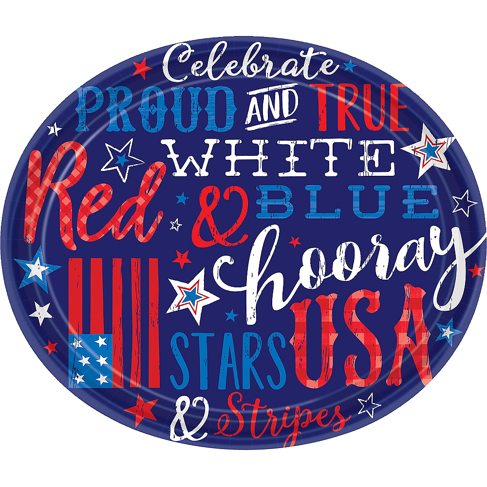 Patriotic Proud & True Oval Plates 18ct Image #1